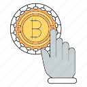 bitcoin, cryptocurrency, finger, hand, technology, touch icon