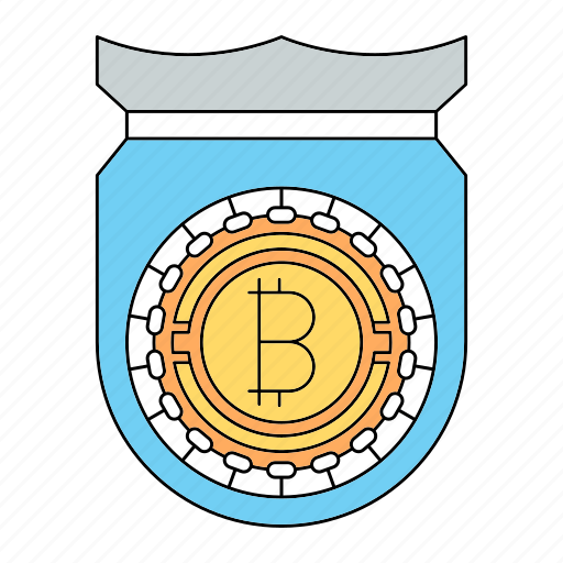 bitcoin, cryptocurrency, protection, shield, technology icon