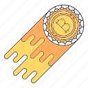 bitcoin, cryptocurrency, fast, rocket, speed, technology icon