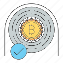 approved, bitcoin, checked, checkmark, cryptocurrency, technology icon