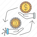 bitcoin, conversion, cryptocurrency, exchange, hand, technology icon