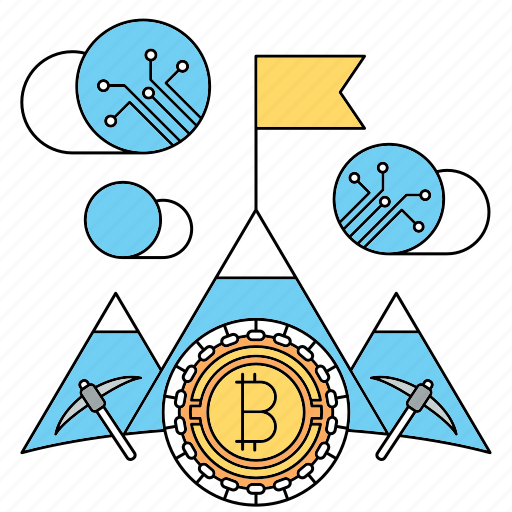 bitcoin, cryptocurrency, flag, goal, mining, technology icon