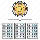 bitcoin, blockchain, cryptocurrency, servers, technology icon