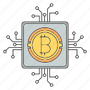 bitcoin, circuit, cryptocurrency, processor, technology icon