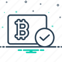 accepted, bitcoin, cryptocurrency, currency, digital icon