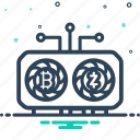 blockchain, cryptocurrency, gpu, mining, rig icon