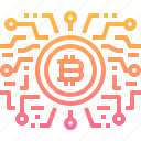 bitcoin, coin, cryptocurrency, currency, digital, intelligence, technology icon