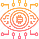 bitcoin, cryptocurrency, currency, digital, eye, robotics, technology icon