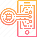 bitcoin, cryptocurrency, currency, digital, key, security, smartphone icon