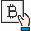 bitcoin, blockchain, crypto, cryptocurrency, document, hand, hold icon
