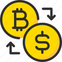 bitcoin, blockchain, crypto, cryptocurrency, dollar, exchange icon