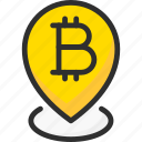 bitcoin, blockchain, crypto, cryptocurrency, location, pin, pointer icon