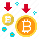 business, coin, cryptocurrency, decrease, digital, money icon