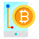 business, coin, cryptocurrency, digital, smartphone icon