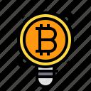 bulb, business, cryptocurrency, digital, idea, light, money icon