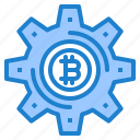 bitcoin, cryptocurrency, currency, gear, money icon