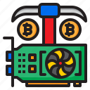 cryptocurrency, currency, card, bitcoin, minning, vga icon