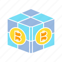 bitcoin, blockchain, box, cryptocurrency, cube icon