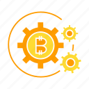 bitcoin, cogs, cryptocurrency, gear, money, rotate, system icon