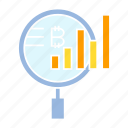analytics, bitcoin, chart, cryptocurrency, data, graph, magnifier, scan icon