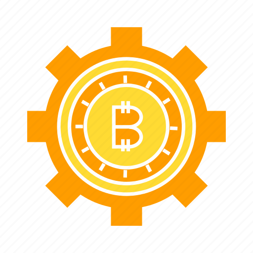 bitcoin, cog, coin, gear, rotate, setting icon