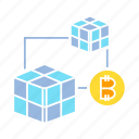 bitcoin, blockchain, box, connect, crypto, cryptocurrency, cube, technology icon