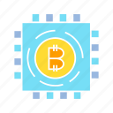 bitcoin, blockchain, chip, crypto, cryptocurrency, electronic, microchip, processor, technology icon