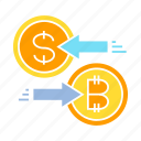barter, bitcoin, currency exchange, money exchange, swap icon