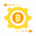 bitcoin, blockchain, cog, coin, cryptocurrency, gear icon
