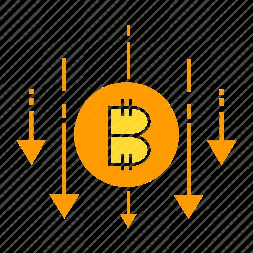 bitcoin, blockchain, cryptocurrency, decrease, digital money icon