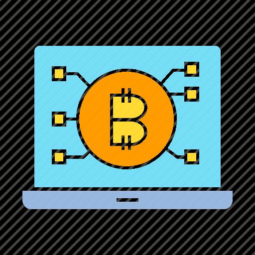 bitcoin, blockchain, computer, cryptocurrency, laptop icon
