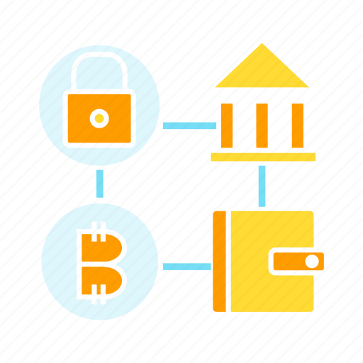 bank, bitcoin, blockchain, cryptocurrency, key, wallet icon