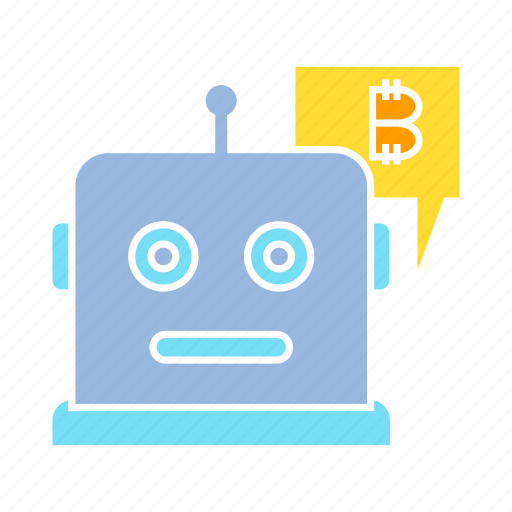 bitcoin, blockchain, bot, cryptocurrency, robot icon