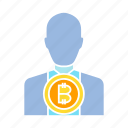 banker, bitcoin, broker, cryptocurrency, investor icon