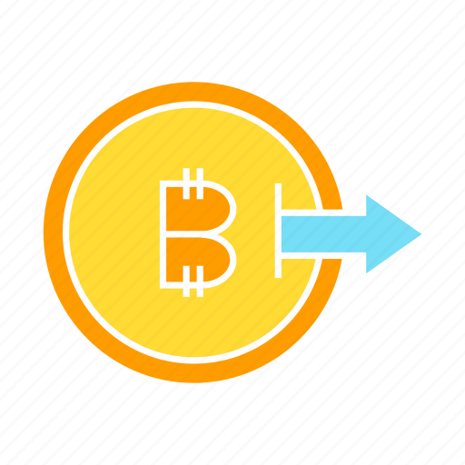 bitcoin, coin, cryptocurrency, outbound, output icon