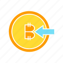 bitcoin, blockchain, coin, cryptocurrency, inbound, input icon