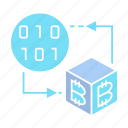 binary, bitcoin, blockchain, cryptocurrency, cube, decentralized, digital, electronic money icon