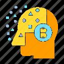 artificial intelligence, bitcoin, blockchain, head, mind, think icon