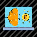 bitcoin, blockchain, brain, compute, computer, connect, smart icon