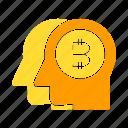 bitcoin, blockchain, head, human, think icon