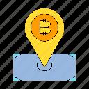 bitcoin, blockchain, location, pin, pointer icon