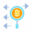 analytics, bitcoin, blockchain, magnifier, search icon