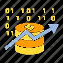 binary, bitcoin, blockchain, chart, digital, graph icon