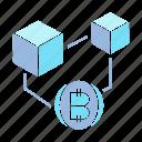 bitcoin, blockchain, connect, cube icon