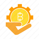bitcoin, cog, cryptocurrency, gear, hand, invest, saving icon
