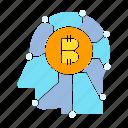 artificial intelligence, bitcoin, blockchain, head, human, think icon