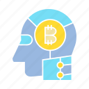 android, artificial intelligence, bitcoin, head, humanoid, robot icon