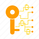 access, bitcoin, blockchain, lock, security icon