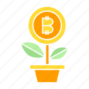 bitcoin, cryptocurrency, growth, invest, plant icon