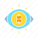 bitcoin, cryptocurrency, eye, money, scan, vision icon